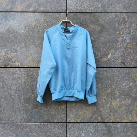 Light Blue Polyester Modern Vintage Sweatshirt V-neck Size S/M