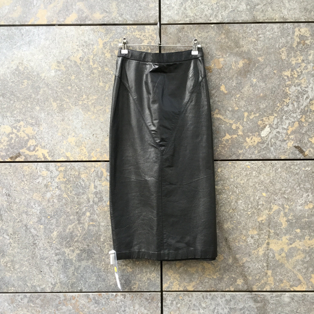 Black Leather Vintage Midi Skirt Conceptual Detail Size 25/26