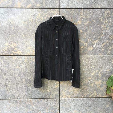 Black Wool / Polyamide Girbaud Shirt Slit Panel Size L/Xl