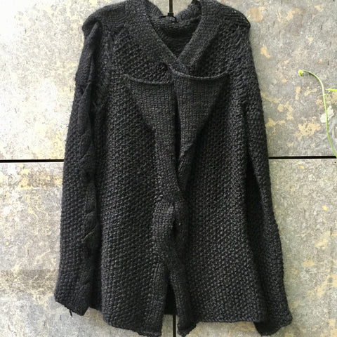 Black Wool Mix Helmut Lang Sweater Conceptual Detail Size M/L