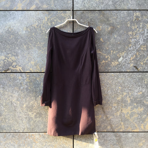 Eggplant Rayon Mix All Saints Sweatshirt Dress Cold Shoulder Boat Neck Size M/L