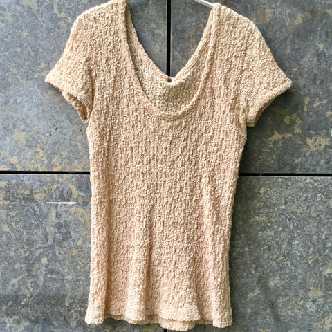 Beige Cotton / Poly Mix Matsuda Top short sleeve Popcorn