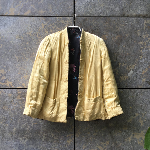 Straw-Dark Color Mix Rayon Vintage Light Jacket Convertible Size S/M