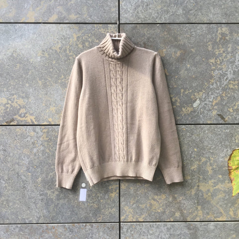 Beige Cashmere Mix Contemporary Main Sweater Turtle Neck Size S/M