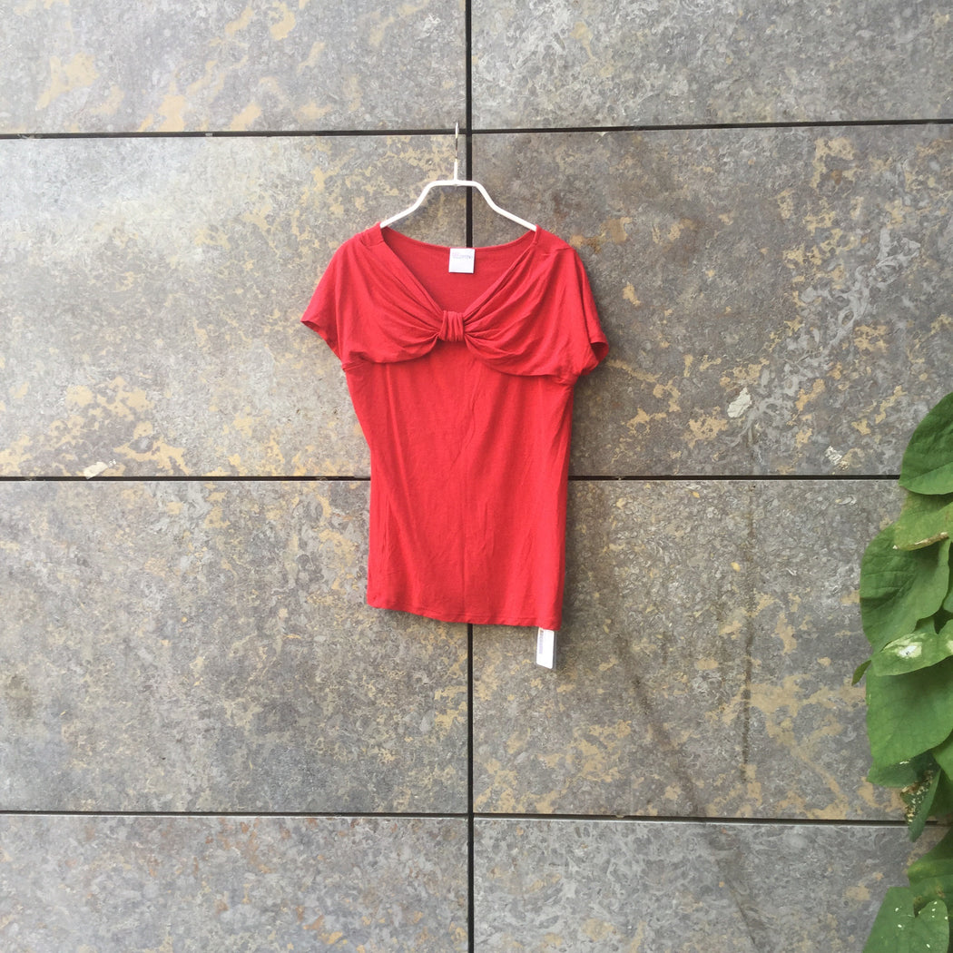 Red Cotton Mix Red By Valentino Top short sleeve Collar Detail Size S/M