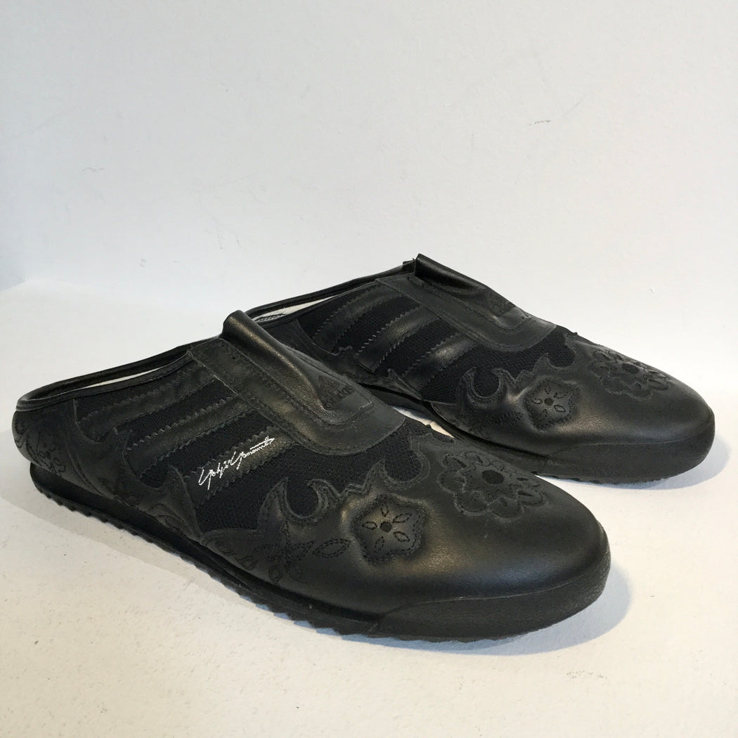 Black Leather Y-3 Sneaker Sandals Embroidered Size 44