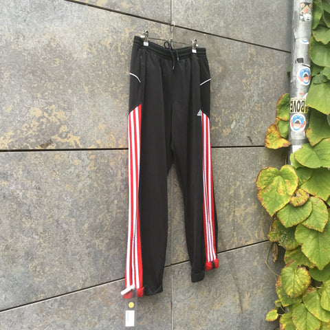 Red-Black Polyester Modern Adidas Jogging Pants Stretch Waist Size 30/31
