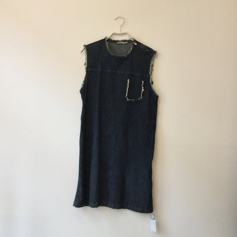 Dark Blue Denim Acne Studios ( Womens ) Mini Dress Raw Hem Sleeveless Size S/M