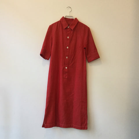 Red Cotton Mix A.p.c. ( Womens ) Shirt Dress  Size S/M