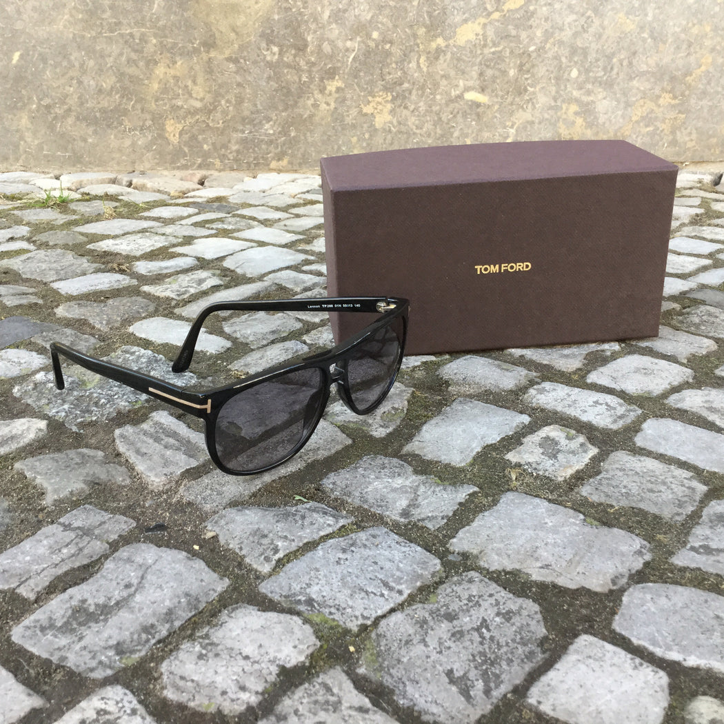 Black-Gold Plastic Tom Ford Sunglasses  Size Os