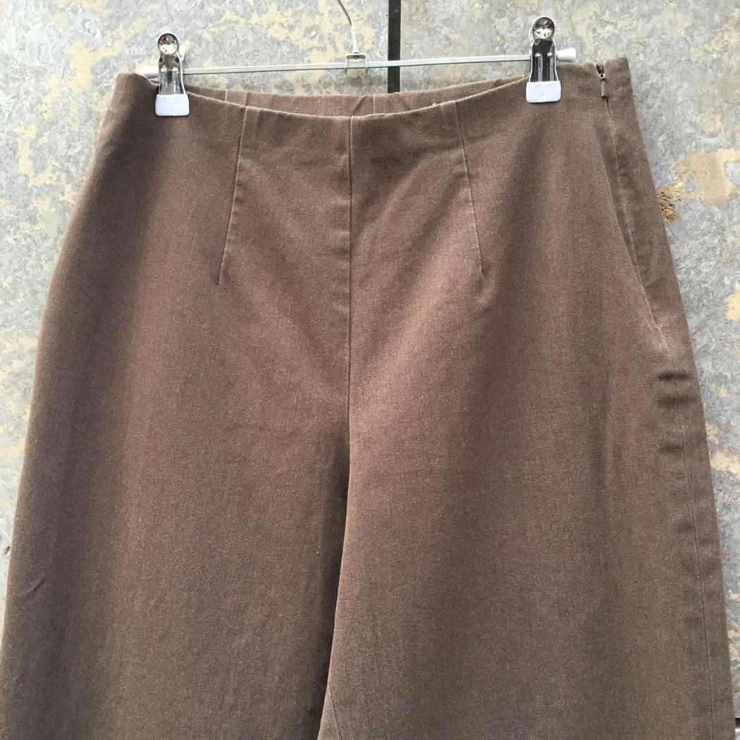 Brown Cotton / Poly Mix Vintage High Waist Pants Wide Leg Size 28/29