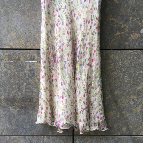 White-Colorful Silk Vintage Maxi Skirt Ruffled Size 29/30