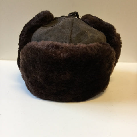 Brown Leather / Acrylic Mix Vintage Trapper Hat  Size 7 1/4