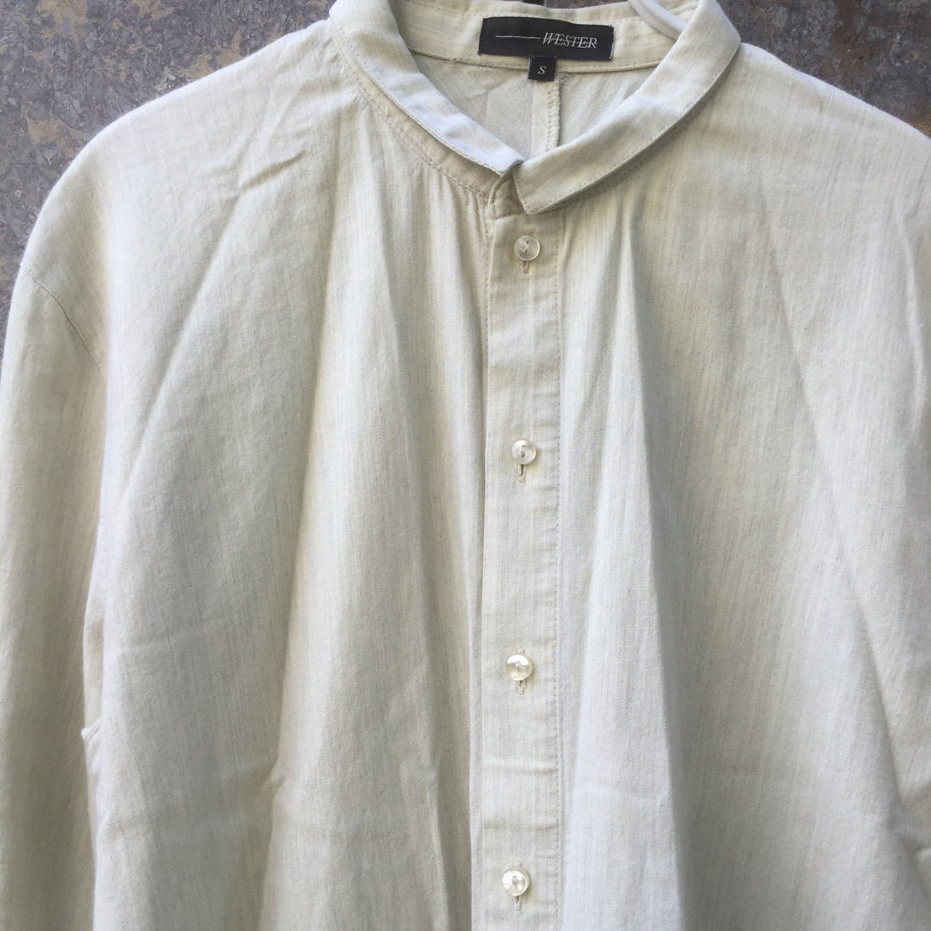 Light Gray-Straw Cotton Wester Shirt Collar Detail Pocket Detail Size S/M
