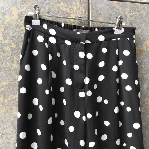 Black-White Polyester Modern Contemporary Main Trousers Wide Leg Size 28/29