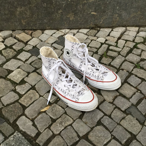 White-Black Canvas Converse X JW Anderson High-Tops  Size 6