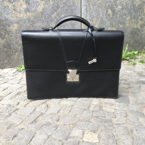 black Leather / Metal Mix Cartier Briefcase  Size Os