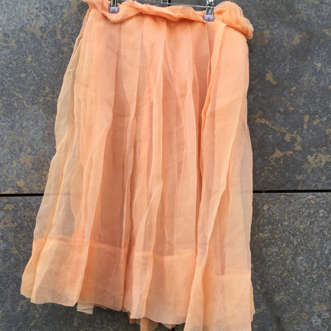 Orange Creamsicle Silk Chloé Midi Skirt Pleated Size 26/27