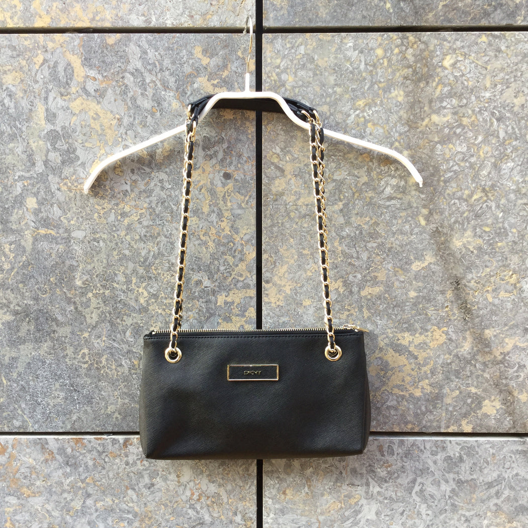 Black-Gold Leather Dkny Shoulder Purse Chain Detail