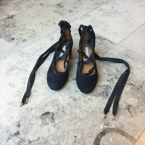 Black Suede Other Stories Ankle Strap Heels Round Toe Fat Heel Size 38