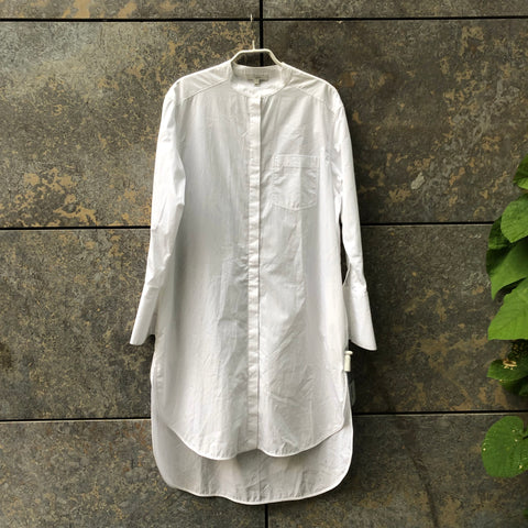White Cotton Contemporary Shirt Mandarin Collar Extended Size S/M