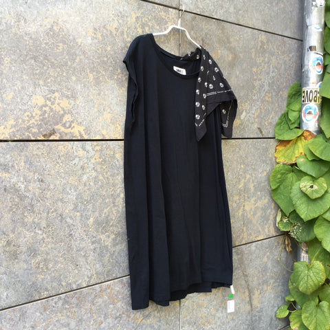 Black Cotton Mm6 Maison Margiela Dress Shoulder Detail Oversized Size M/L