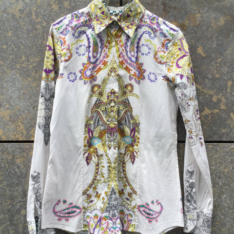White-Colorful Cotton Etro Shirt  Size XS/S