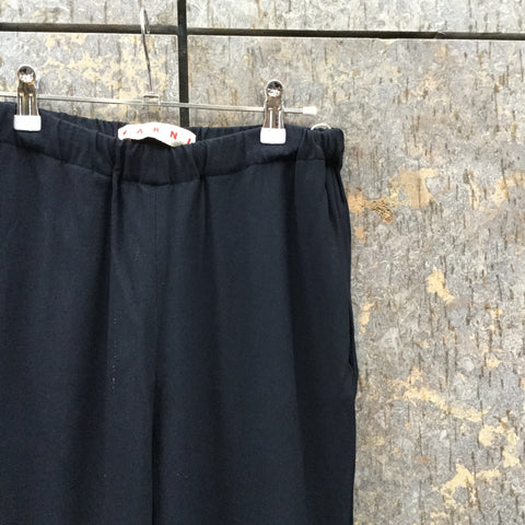 Midnight Blue Rayon Mix Marni Trousers Stretch Waist Size 28/29