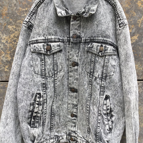 Black Denim Vintage Jeans Jacket  Size L/XL
