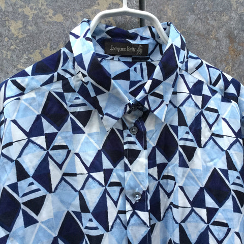 Blue Tone Mix Silk Mix Contemporary Shirt  Size M/L