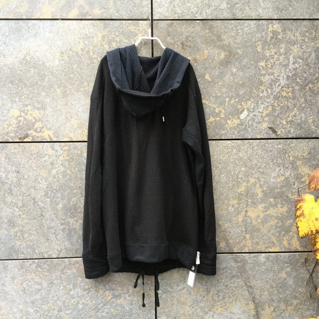 Black Wool Mix 11 By Boris Bidjan Saberi Hoodie Conceptual Detail Elongated Size M/L
