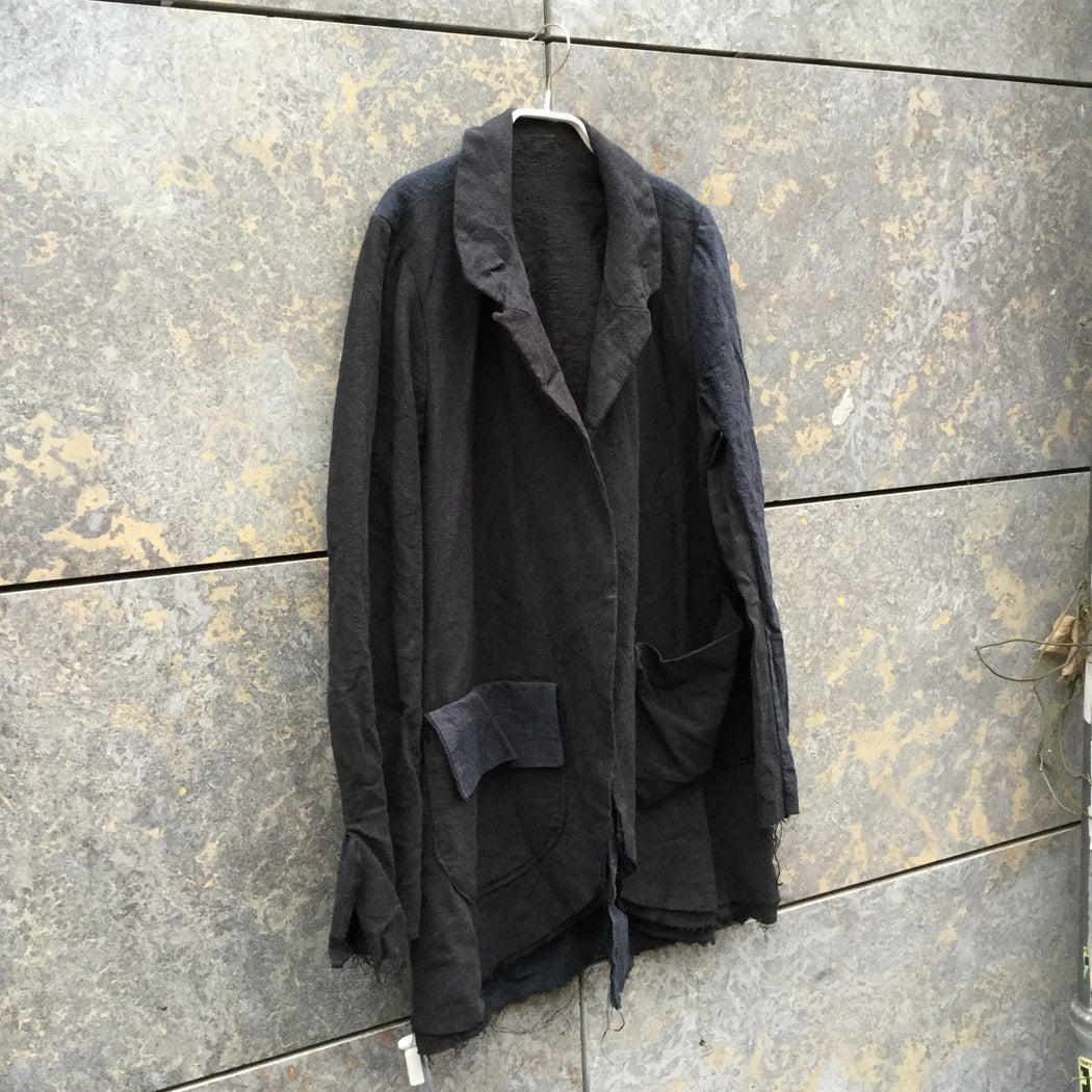 Black-Navy Linen Independent Light Jacket Destroyed Size M