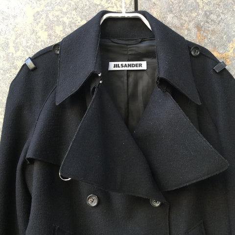 Black Cashmere Mix Jil Sander Biker Jacket Buckled Size Xs/S