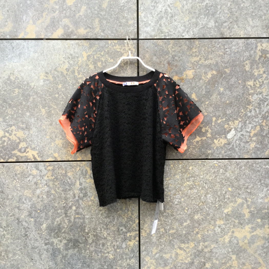 Black-Orange Rayon Mix MSGM Top SS  Size M/L