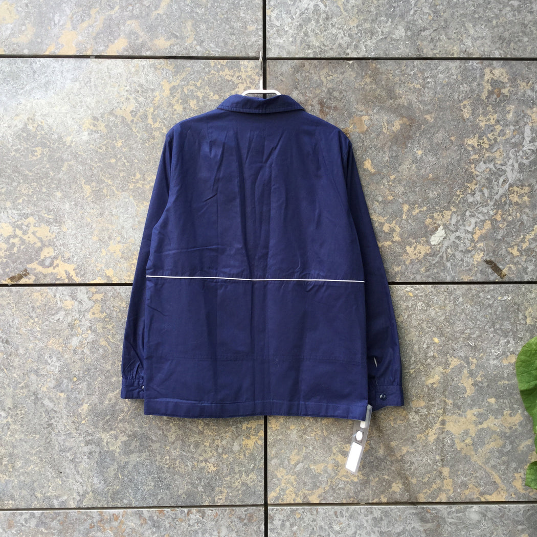 White-Navy Cotton Mix Vintage Zip Jacket  Size M/L