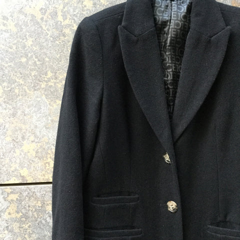 Black Wool Mix Iceberg Coat Extended Size Xs/S