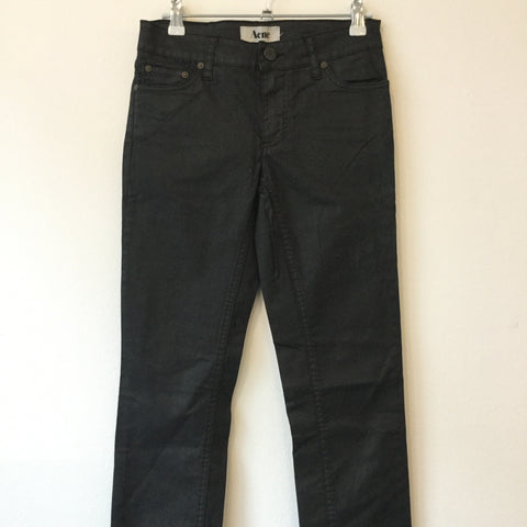 Black Cotton Acne Studio ( Jeans ) Straight Fit Pants Waxed Size 26/27
