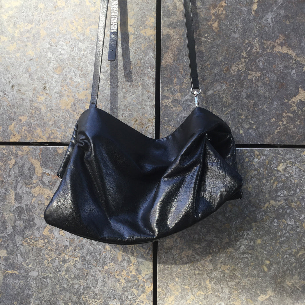 Black Leather COS Shoulder Purse Convertible Size Os