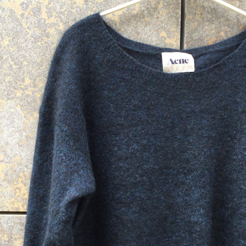 Black-Midnight Blue Mohair Mix Acne Studios ( Womens ) Sweater Dress  Size S/M