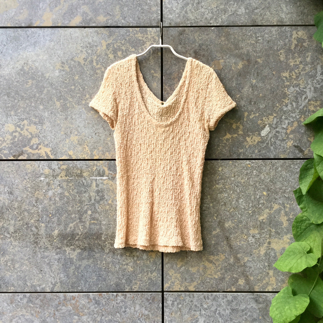Beige Cotton / Poly Mix Matsuda Top short sleeve Popcorn Size M/L