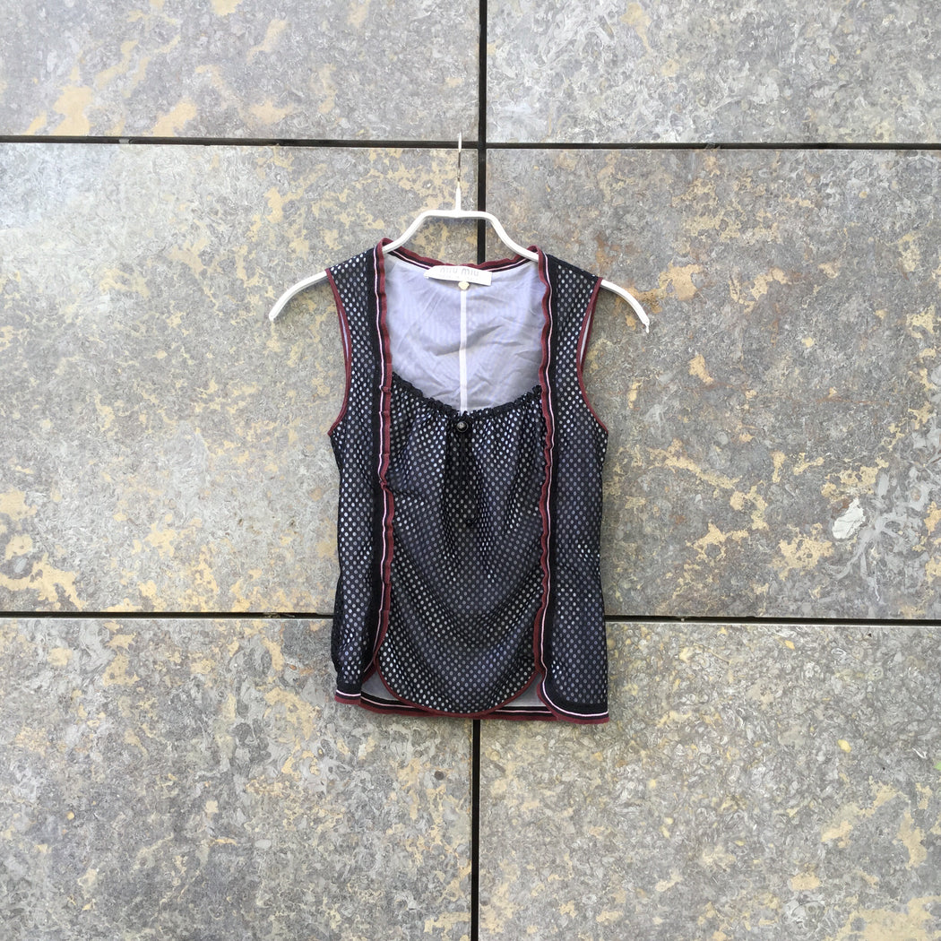 Black Cotton / Poly Mix Miu Miu Tank Square Neck Size S/M