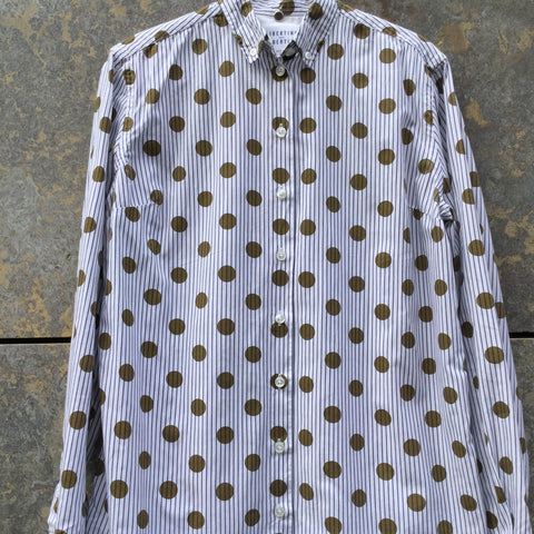 White-Dark Mustard Cotton Libertine-libertine Shirt  Size S/M