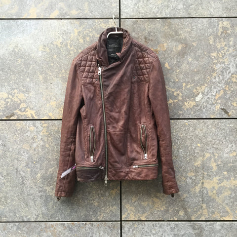 Burgundy Leather All Saints Biker Jacket Zippered Size M/L