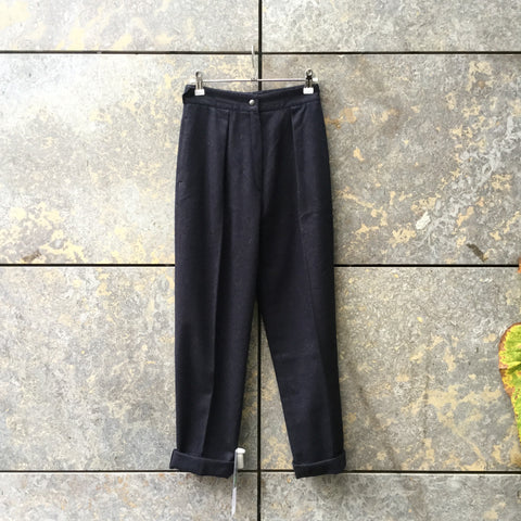Midnight Blue Wool Mix Vintage High Waist Pants Pleated Size 24/25