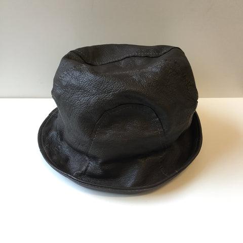 Brown Leather Independent Bucket Hat Stitching Detail Size 7 1/2