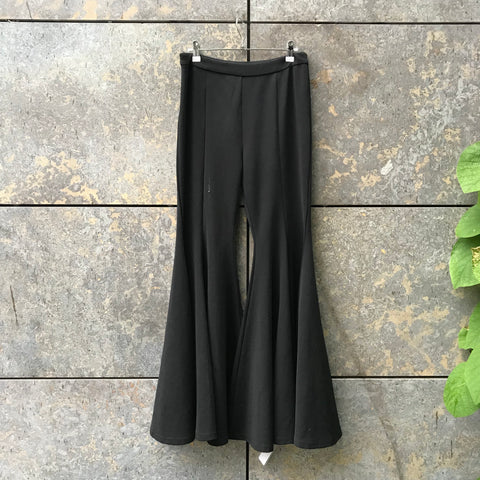 Black Polyester Mix Vintage Flare Pants High Waist Bell Bottom Size 29/30