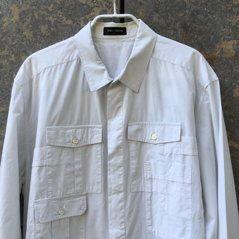 Chalk White Cotton Kris Van Assche Shirt Multi Pocket Size M