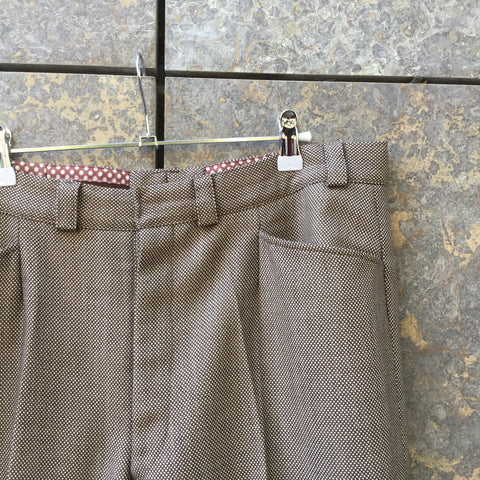 White-Brown Wool Mix Contemporary Trousers Wide Leg Size 36/37
