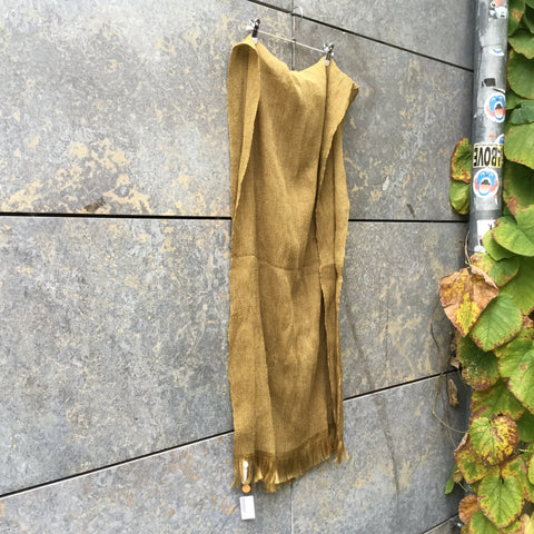 Curry Cotton Issey Miyake Pleats Please Scarf Fringy