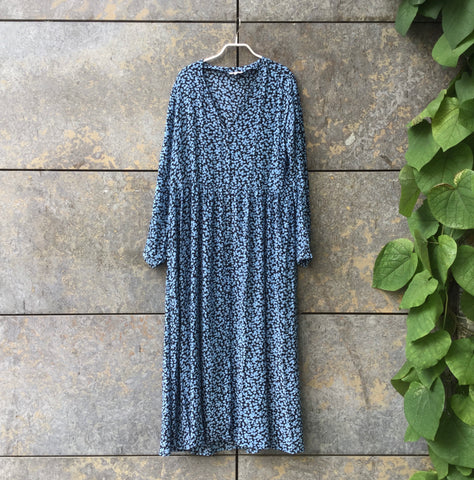 Black-Sky Rayon Vintage Maxi Dress Deep V-Neck Oversized Size L/XL